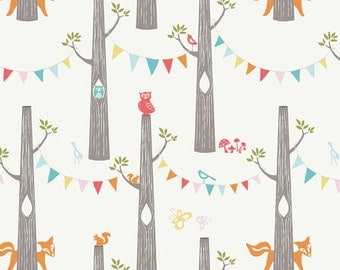 Woodland Animal Fabric - Birch Organic Cotton Fabric - Circa 52 - Woodland Party Cream - Animal Fabric -  Party Fabric - Quilting Fabric