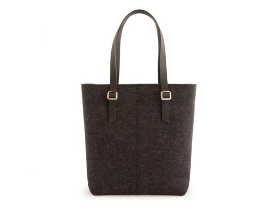 Felt TOTE BAG / leather straps / charcoal / black / felt women's bag / wool felt / made in Italy