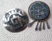 Mexican Sterling 925 Round Brooch Pendant Aztec Pair Stone Pin Back Taxco Hecho En Mexico Eagle 3 Bell Pre-1978 Mid Century