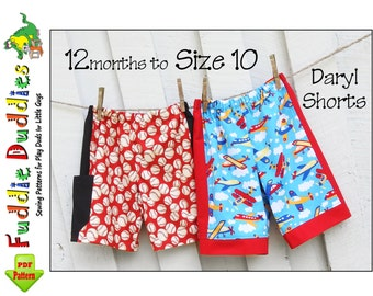 Quick & Easy Boy's pdf Sewing Pattern. Toddler Sewing Pattern. Boy's Sports Shorts Pattern. Toddler Shorts Pattern. Instant Download. Daryl