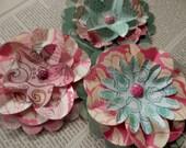 PAPER FLOWERS set/3 Pink Magenta Green Floral Springtime Cottage Chic