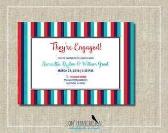 Printable Wedding Engagement Invitation - Fun Colorful Casual Enagagement Invitation - Red, Turquoise Blue invitation