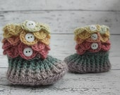 Baby Booties, 6-12 Month Rainbow Slipper Boots, Crochet Crocodile Booties, Ready To Ship