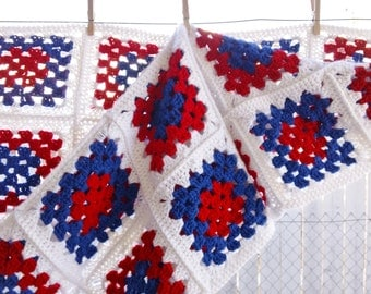Lovely Hand Crocheted Afghan In RED WHITE & BLUE