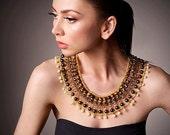 SALE Elegant fashion bib necklace, gemstones, tigers eye, Swarovski, pearls, freshwater pearls and shiny spacers, golden brown, large neckla