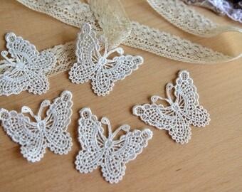 """5 pieces Lace Butterfly Appliques 2.75"""" x 2"""" L941"""