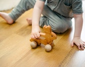 Wooden Bunny Push Toy - Waldorf and Montessori Animal Toy
