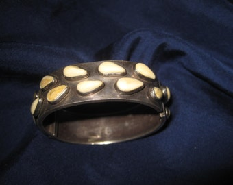 National Costume Jewellery Antique Silver Bracelet 835 Grandln 5 damage to the inserts H.2,7 cm D.6 cm Patina
