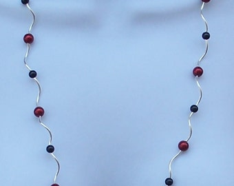 Long Necklace Red Black Silver Plated Faux Pearl Beads Jewelry Fashion Trendy Beaded