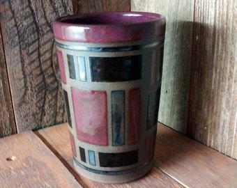 Ceramic Cup - Mid Century Modern Tumbler - Handmade Stoneware Pottery