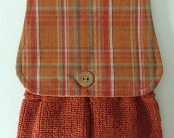 Hanging Kitchen Towel -  Plaid Rust Teal Yellow Cream  Fall Autumn Rust Terry Cloth Towel Button Closure