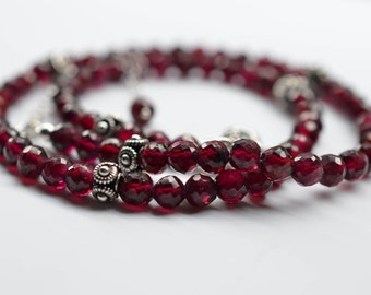 Garnet Necklace, Natural Gemstone and Sterling Silver Jewelry