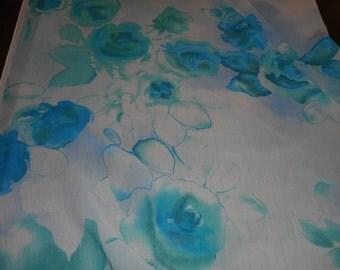 Fabric, Yardage, Chiffon, Floral, Teal, Aqua, John Kaldor, Scarf Fabric, Flowing, Lightweight, Classic, Feminine