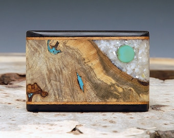 Exotic Wood, Turquoise, and Mother of Pearl Inlaid Belt Buckle - Handmade