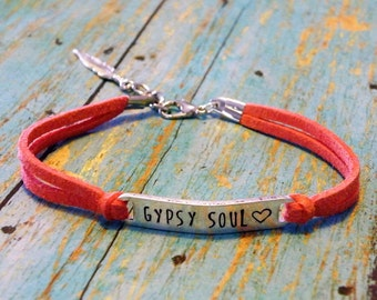 Gypsy Soul  Hand Stamped Coral Suede Bracelet