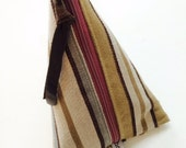 SUN BAG  Multicolored Stripe Patterned Triangle Pouch, miniclutch, stash bag, cosmetic bag, plum zipper, lined, remnant fabri