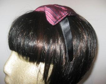 Satin headband with handmade silk bow