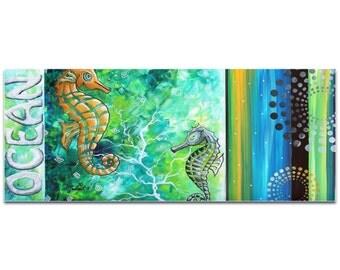 Contemporary Beach Decor 'Ocean' by Megan Duncanson - Coastal Bathroom Art Seahorse Painting on Metal or Acrylic