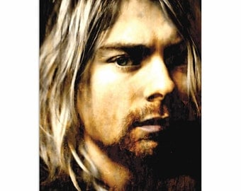 Pop Art 'Kurt Cobain As Darkness Fell' by Artist Mark Lewis, Nirvana Rock Star Painting Limited Edition Giclee Print on Metal or Acrylic