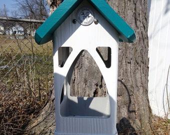 Hanging PVC bird feeder,outdoor,unique modern tray feeder,fully functional,suet holder,Handmade in USA, ez clean, ez fill, open viewing