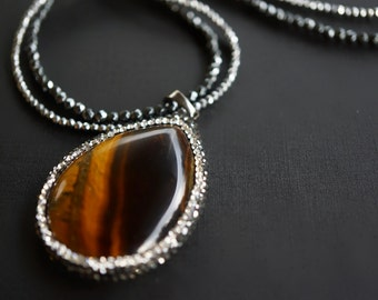 Tigerica - Tiger Eye and Hematite Pendant Statement Necklace