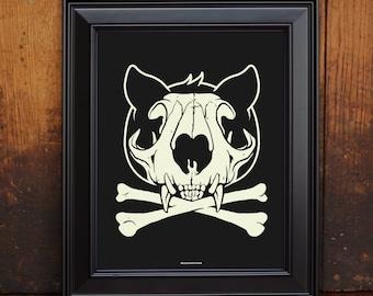 Glow in the Dark Cat Skull Print - Art Print Wall Decor - Screen Print