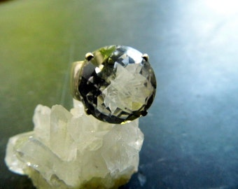 Ring, sterling silver, rock crystal, faceted, jewelry, white, bride