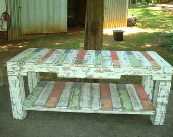 Custom made bench/coffee table. Recycled/Reclaimed wood