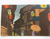 Antique Woodblock, Japanese Postcard, Original from 1940s, Evening Rain, Printed by Tokuriki, Signed, Ready to Frame,