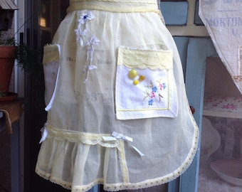 Vintage yellow sheer up cycle 1950s apron, vintage aprons, shabbychic aprons