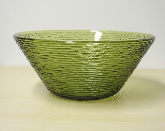 "Green Crinkle Bowl  - Large Soreno Serving Bowl 11 3/8"", Vintage Fire King / Anchor Hocking 1960s / Mid Century Modern Retro Kitchen"
