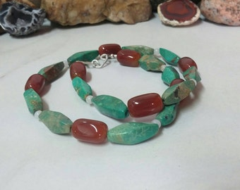 Green turquoise & carnelian Necklaces, turquoise and carnelian jewelry