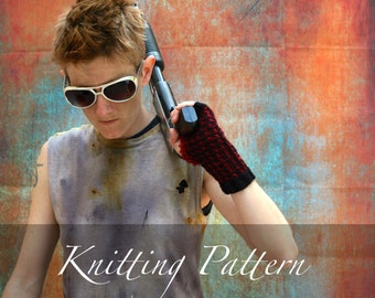 Knitting Pattern: Buffalo Mitts ~ Hand Knit Worsted Two Color Checkered Houndstooth Modern Geometric Fingerless Gloves Wrist Warmers Cuffs