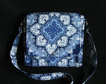 Large messenger bag- Blue paisley canvas