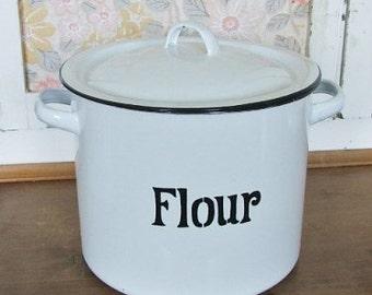 White Enamel Flour Container