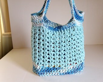 Beach Bag, Reusable Market Tote, Crocheted Cotton Market Bag,  Doubled up yarn for Strength & Durability, Crochet Purse, Sea and Aqua Blues