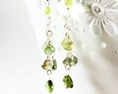 Green tourmaline earrings, Sterling Silver wire wrapped gemstones, fine dangle earrings, cluster earrings, gift for her, boho earrings,3270