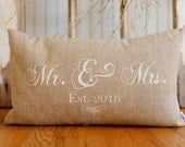 Mr. and Mrs. Pillow Cover, 12x20 lumbar, choice of black or vintage white writing on Natural Linen,Customized  Established Year