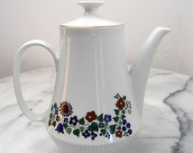 Vintage Porcelain Tea Pot, Floral Ceramic Tea Pot, Made in GDR (former East Germany) by brand CP Colditz, Model 42