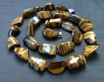 Huge Chunky Vtg Tiger's Eye Nugget Designer Signed Necklace- Les Bernard NYC