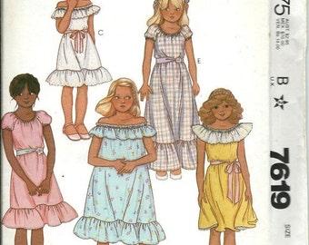 ON SALE VTG McCall's 7619 Girls Off-The-Shoulder Dress Pattern, Size 7 & 10 Uncut