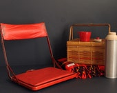 Vintage Folding Stadium Bleacher or Boat Seat Metal Frame With Red Mid Century Vinyl Upholstery