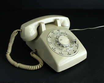 Vintage Rotary Telephone Tan Cream Beige Colored 1970's  SC 5000
