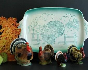 Vintage Thanksgiving Turkey Platter Autumn Farm Scene Mid Century Decor Turquoise Country Design Bell California Pottery