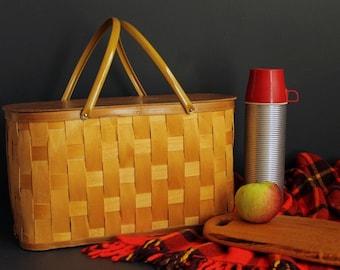 Vintage Picnic Basket Weaved Bent Wood Large Solid Bottom