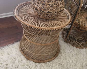 Vintage Rattan Table Bohemian Chic Eclectic Stool Seating Home Decor Peacock Fan Chair & Couch Companion Natural Table Plant Stand
