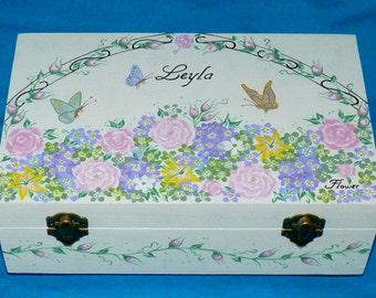 Hand Painted Baby Keepsake Box Custom Wood Memory Box Large Wedding Keepsake Box Butterfly Personalized Pink Nursery Baby Girl Shower Gift