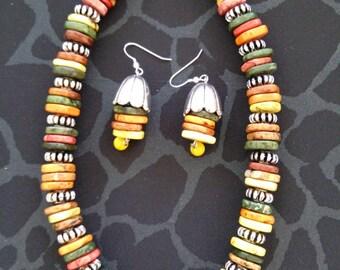 Tibetan style multicolored necklace set