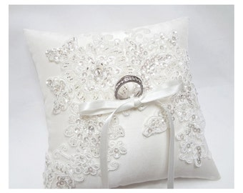 Wedding ring pillow, ring bearer pillow, wedding ceremony ring pillow, wedding ring cushion, off white sequin lace on dupioni silk pillow