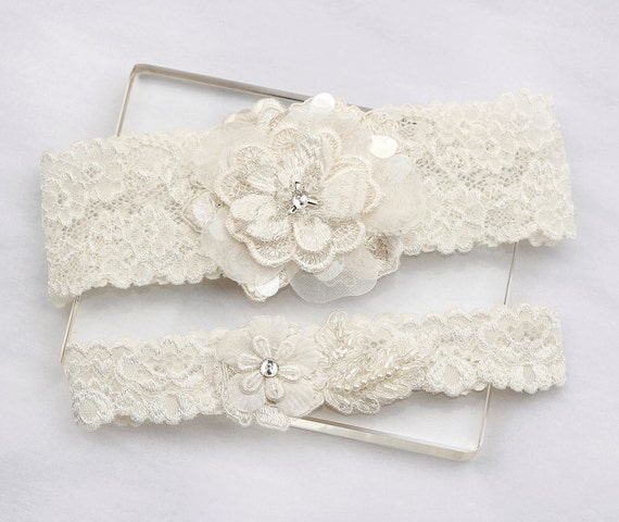 Ivory Garters Wedding: Ivory Lace Garter Set Wedding Bridal Garter Set By